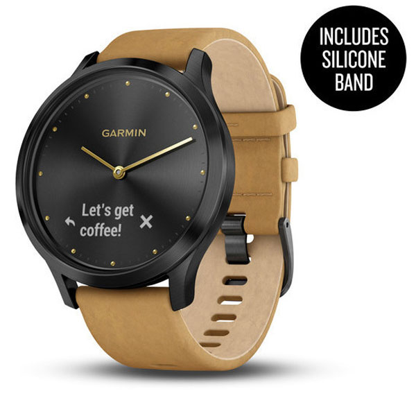 garmin vivoamove hr black and brown suede band