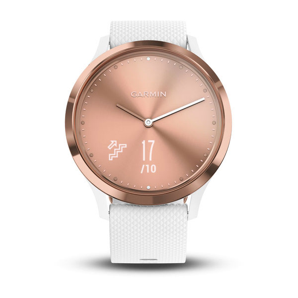 garmin vivoamove hr rose gold with white silicone band