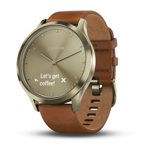 garmin vivoamove hr gold tone with light brown leather band