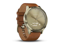 Garmin vivomove HR Premium Gold Tone with Light Brown Leather Band