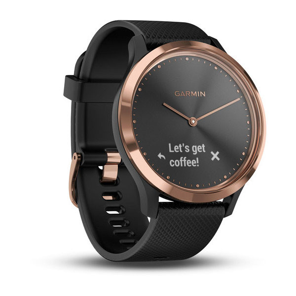 garmin vivoamove hr rose gold with black silicone band