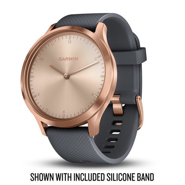 garmin vivoamove hr rose-gold and grey suede band