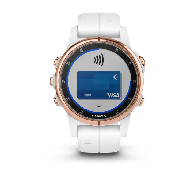 garmin fenix 5s plus sapphire rose-gold tone with white band