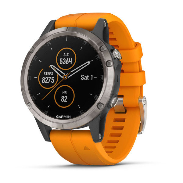 garmin fenix 5 plus sapphire, titanium with orange band