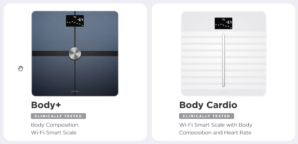 withings body cardio and body+ scales